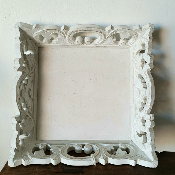 Square Antique Carved Wooden Tray Sets