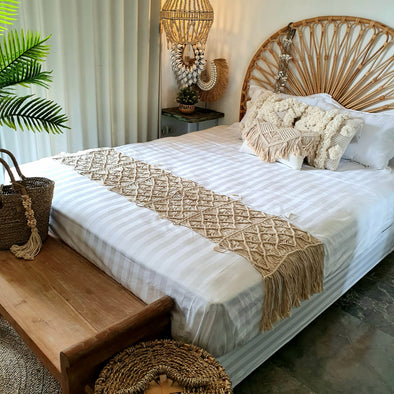 Natural Macrame Bed Runner