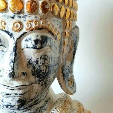 Antique Buddha Head On Stand
