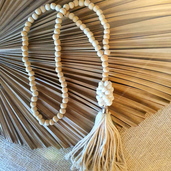 Long Wooden Beaded Tassels with Corn Cob Shells