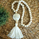 Long White Wooden Beaded Tassels With White Shells