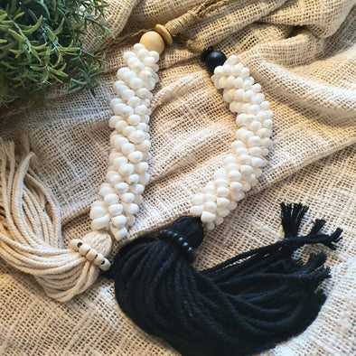 Long Sea Shell And Bead Tassels
