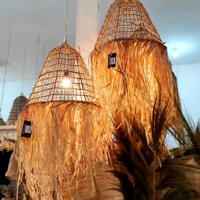 Cone Shaped Ceiling Lamp With Straw Grass Long Fringe
