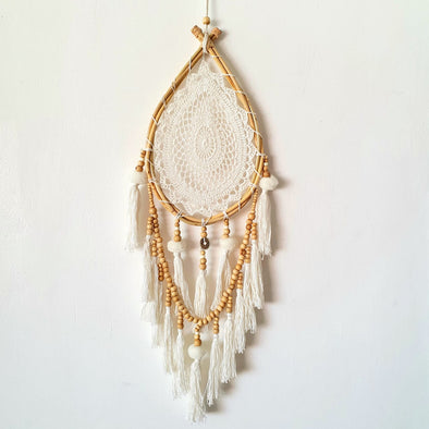 Large Oval Macrame, Bamboo And Bead Dream Catcher