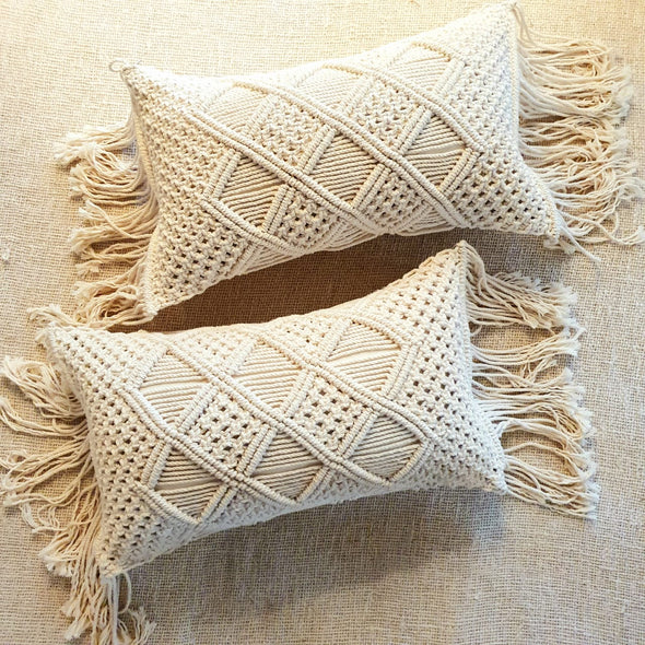 Knitted Macrame Lumbar Cushions With Fringe