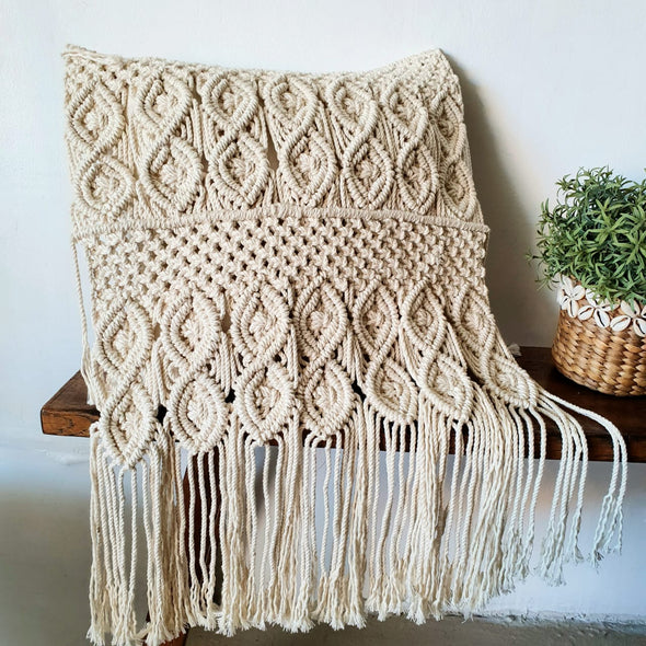 Knitted Macrame Cushion With Long Fringe