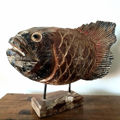 Big Carved Antique Style Wooden Fish Statue