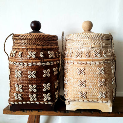 Bamboo & Rattan Baskets With Shells