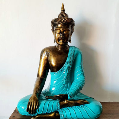 Tall Sitting Buddha Antique Style Resin Statues