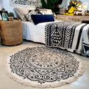 Round Soft Cotton Black Mandala Motif Rug
