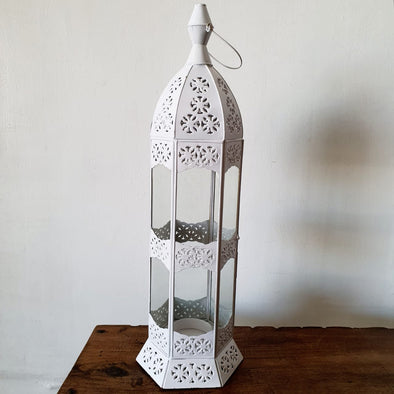 Arabic Style Tall White Brass Candle Holders