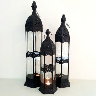 Arabic Style Tall Black Brass Candle Holders