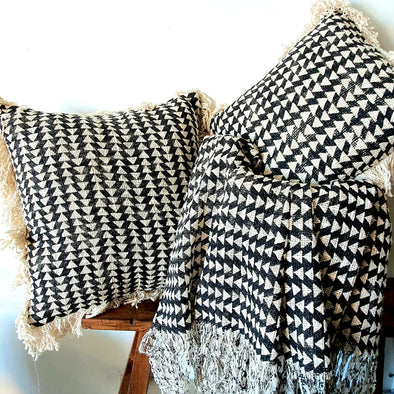 Natural & Black Diamond Motif Cushions With Fringe