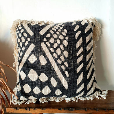 Black & Natural Tribal Pattern Cushions With Fringe