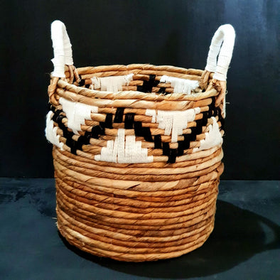 Banana Leaf basket Set With Woven Zig-Zag Motif