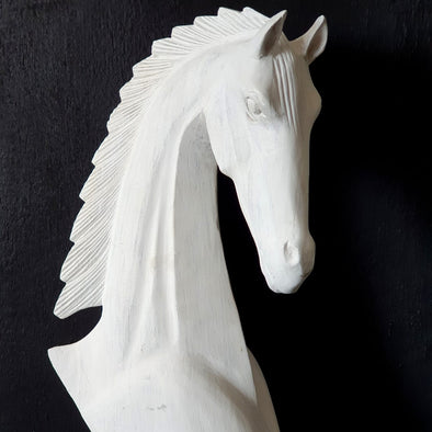 White Carved Wooden Horse Head Statue