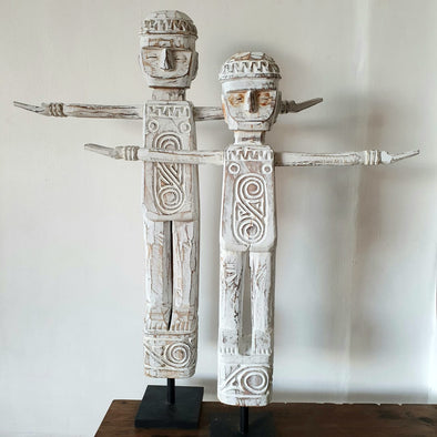 Large Tribal Wooden Standing Figures With Stand