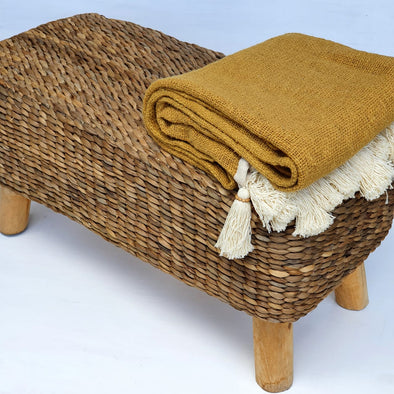 Long Low Water Hyacinth Bench Seat With Wooden Legs