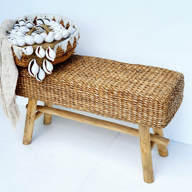 Long High Water Hyacinth Bench With Wooden Legs