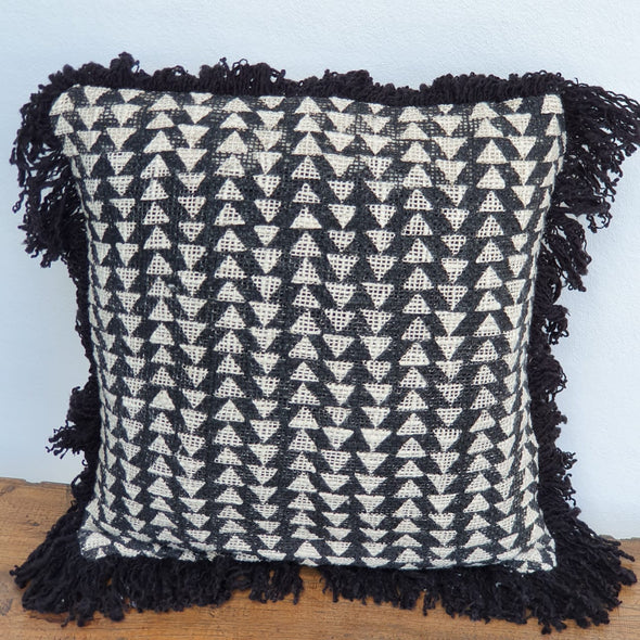 Black & Natural Aztec Diamond Motif Cushions With Fringe