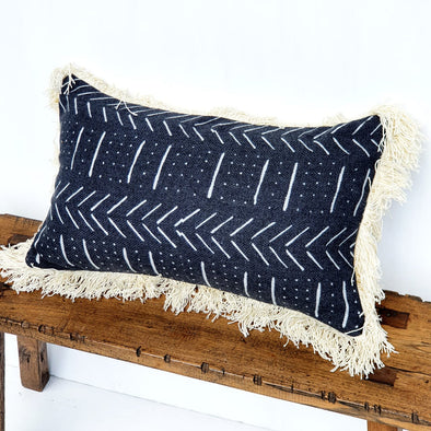 Black Abstract Motif Cushion With Natural Fringe