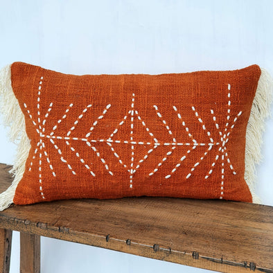 Orange Arrow Stitch Pattern Cushion With Fringe
