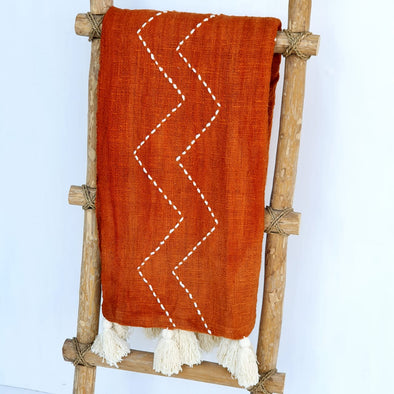 Orange Zig Zag Pattern Throw With Tassels