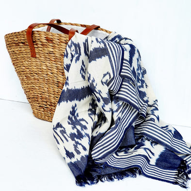 Traditional Sundanese Motif Blue & White Throw