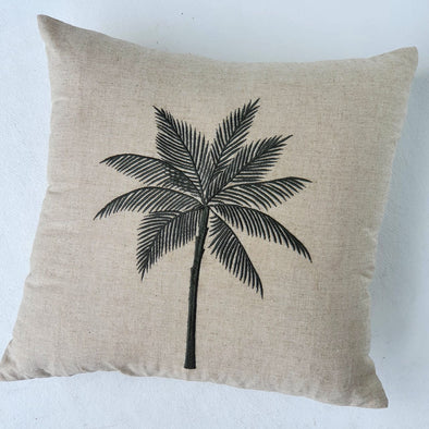 Embroided Palm Tree Motif On Cotton Linen Cushions