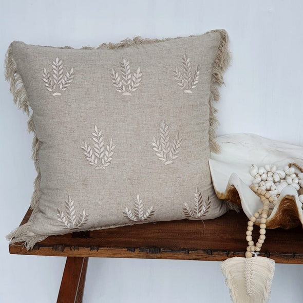 Embroided Leaf Motif On Cotton Linen Cushions