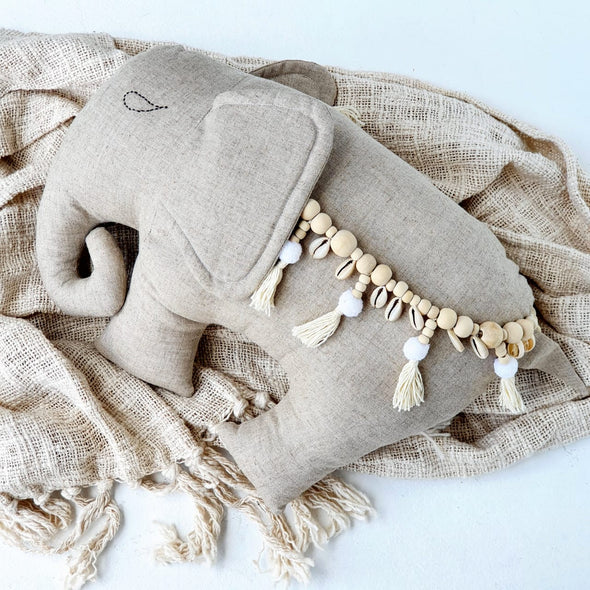 Elephant Cushions With Shell & Bead Tassels