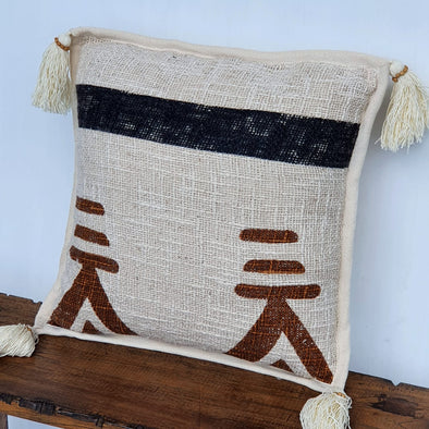 Boho Pattern Raw Cotton Cushions With Tassels And Fringe