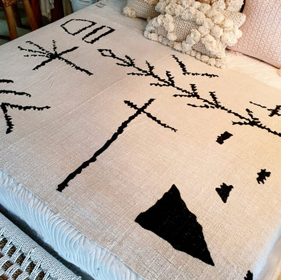 Black Abstract Motif Throw With Fringe