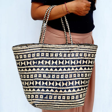 Tribal Pattern Bamboo Woven Bag