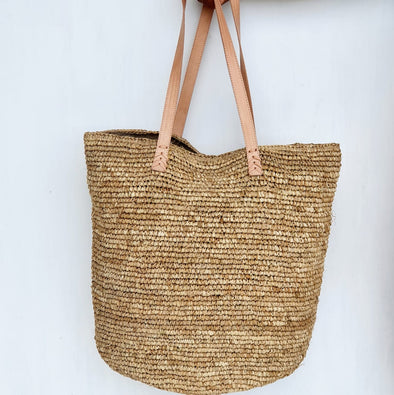 Large Multi-Color Woven Straw Grass Bags With Leather Handles