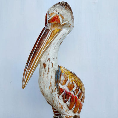 Tall Carved Wooden White Pelican