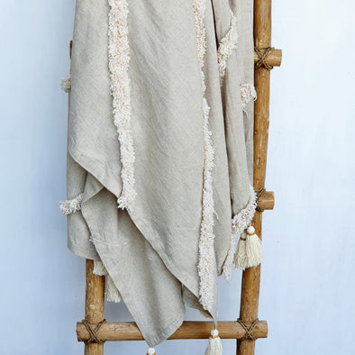 Moroccan Style Cotton Linen Throw With Raw Cotton Stripes And Tassels