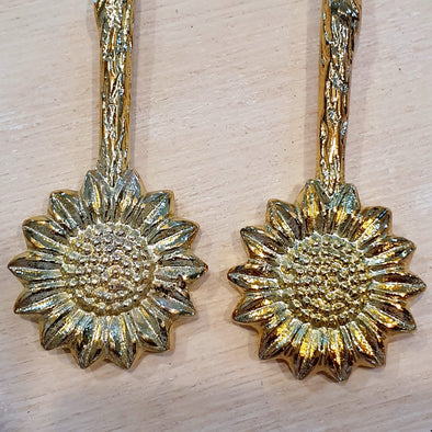 Large Golden Brass Flower Spoons