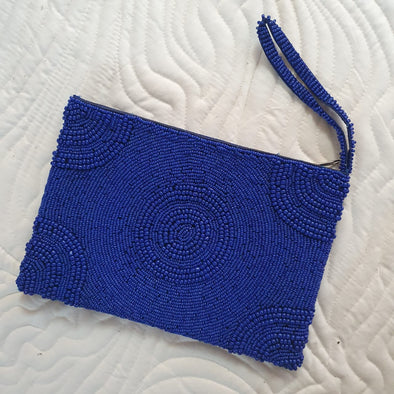 Circle Motif Woven Beaded Clutches With Strap