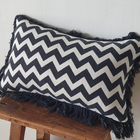 Black And Brown Zig-Zag Pattern Soft Cotton Cushions