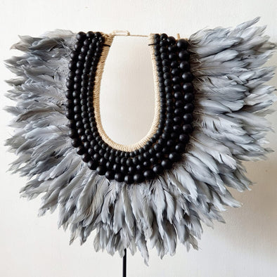 Grey Feather And Black Wooden Beads Necklace