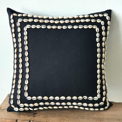 Black Linen Cotton Cushion With Cowrie Shells