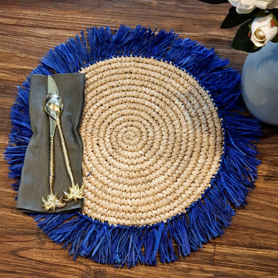 Large Round Grass Placemats With Blue Fringe