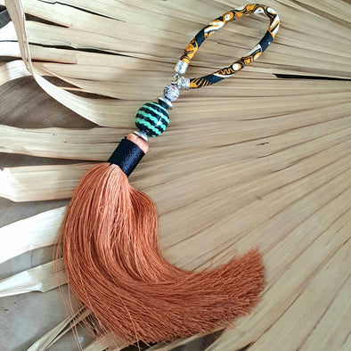 Long Brown Tassel With Black And Green Stone Bead
