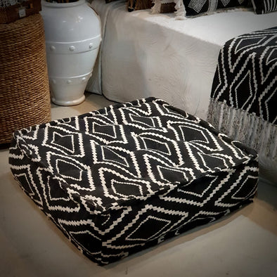 Square Black Diamond pattern Raw Cotton Pouff