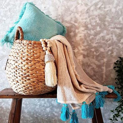 Natural Raw Cotton Throw With Light Blue Beaded Tassels