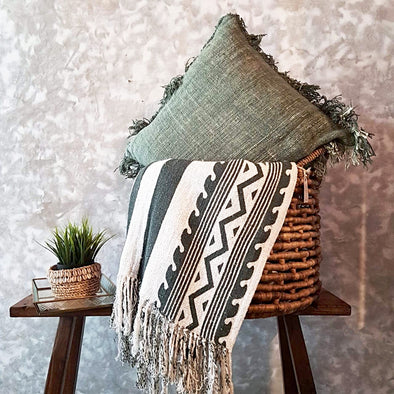 Green Tribal Pattern Raw Cotton Throw With Fringe