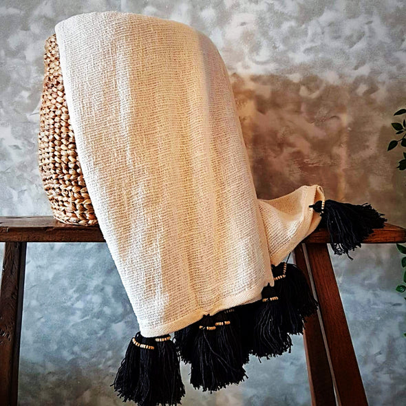 White Raw Cotton Throw With Black Beaded Tassels - Canggu & Co