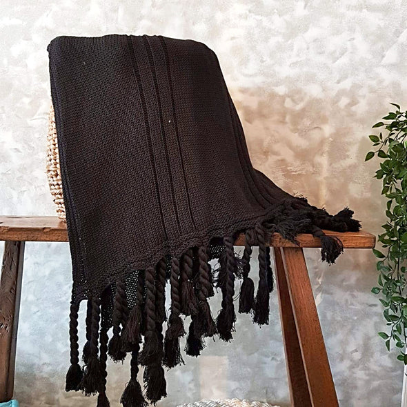 Black Knitted Woollen Blanket With Matching Fringe