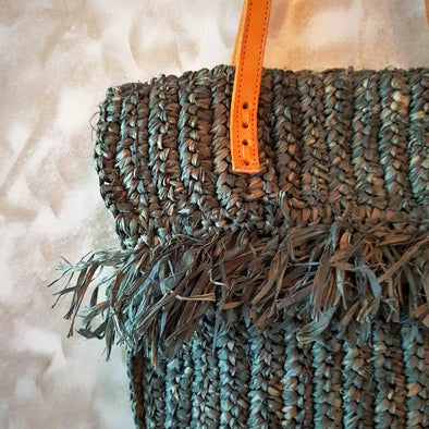 Woven Straw Grass Bag With Double Fringe In Black Or Natural Colors